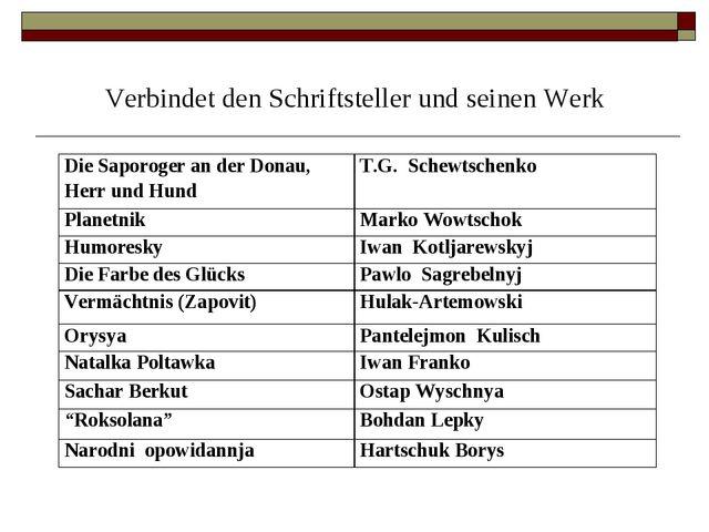 Verbindet den Schriftsteller und seinen Werk Die Saporoger an der Donau, Herr...