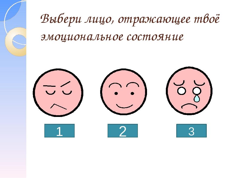 Выбери лицо, отражающее твоё эмоциональное состояние 1 2 3