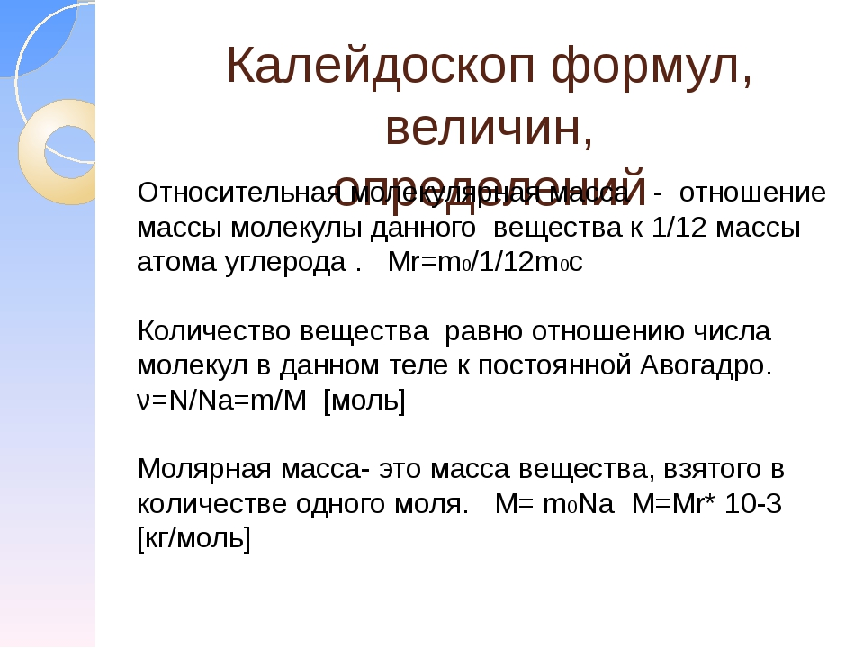 Калейдоскоп формул, величин, определений Относительная молекулярная масса - о...
