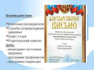 Взаимодействие Классные руководители Служба сопровождения и здоровья Совет от