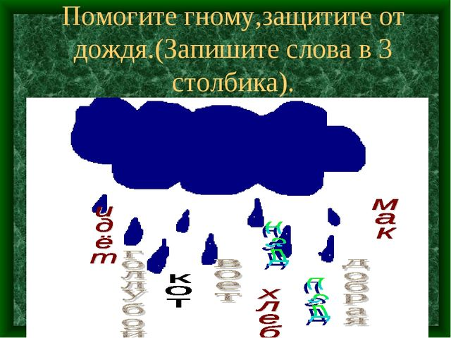 Помогите гному,защитите от дождя.(Запишите слова в 3 столбика).