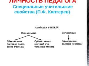 ЛИЧНОСТЬ ПЕДАГОГА Специальные учительские свойства (П.Ф. Каптерев)