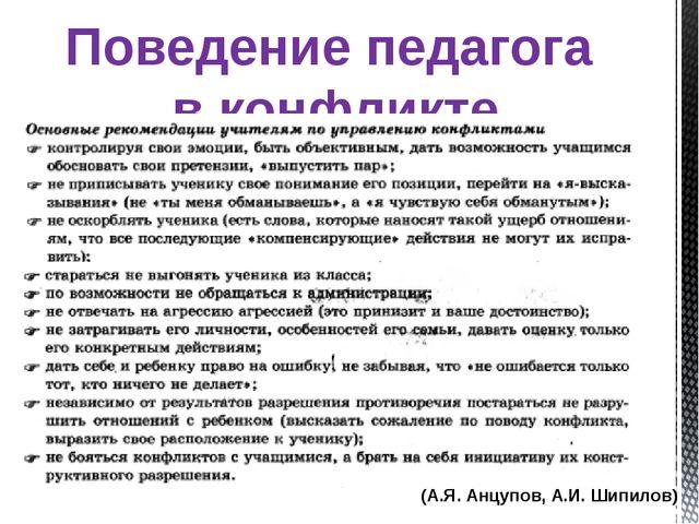 Поведение педагога в конфликте (А.Я. Анцупов, А.И. Шипилов)