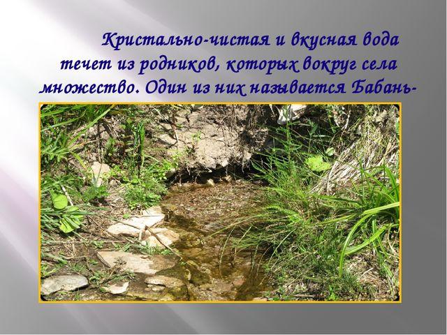 Кристально-чистая и вкусная вода течет из родников, которых вокруг села множ...
