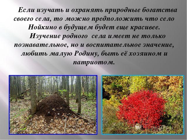 Если изучать и охранять природные богатства своего села, то можно предположи...