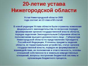 20-летие устава Нижегородской области Устав Нижегородской области 2005 года с
