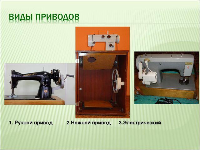 1. Ручной привод 2.Ножной привод 3.Электрический