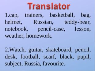 1.cap, trainers, basketball, bag, helmet, Russian, teddy-bear, notebook, penc