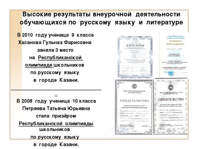 Высокие результаты внеурочной деятельности обучающихся по русскому языку и ли...
