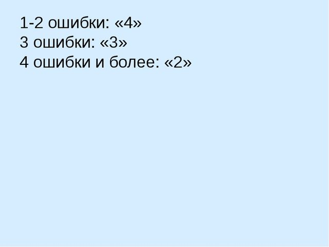 1-2 ошибки: «4» 3 ошибки: «3» 4 ошибки и более: «2»