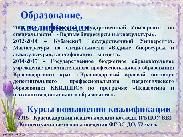 Образование, квалификация 2000-2005 - Кубанский Государственный Университет п...