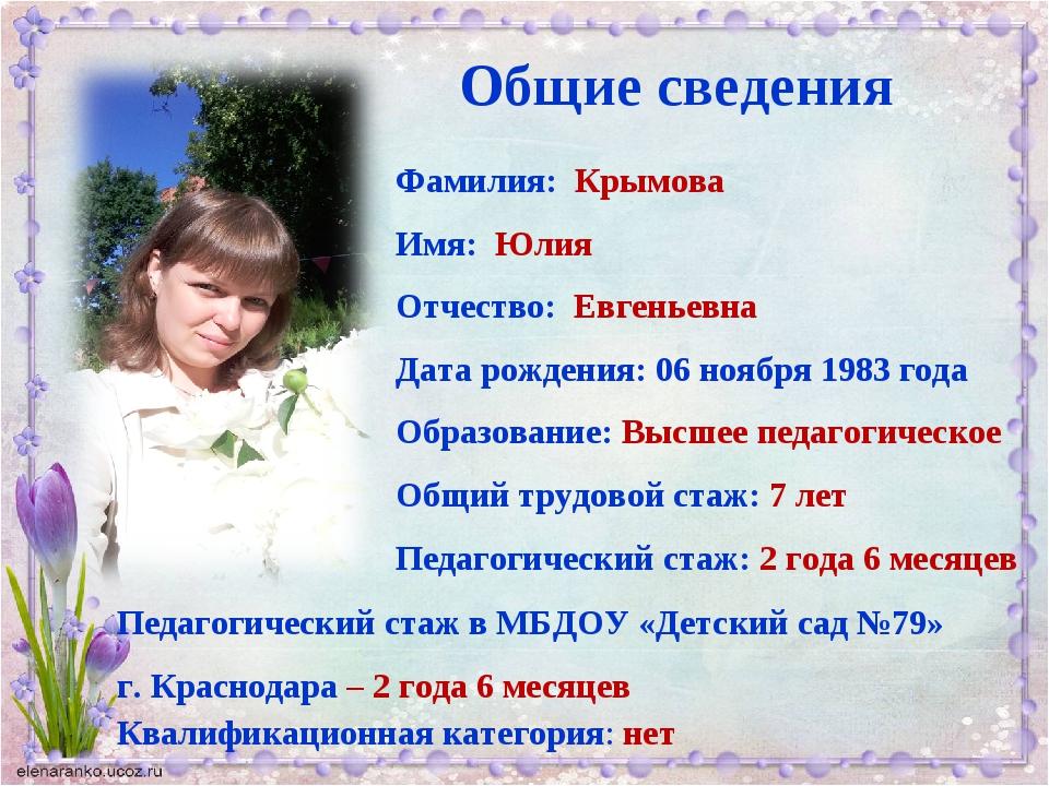 Общие сведения Фамилия: Крымова Имя: Юлия Отчество: Евгеньевна Дата рождения:...