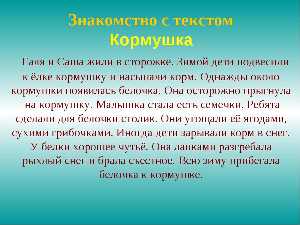 Знакомство с текстом Кормушка Галя и Саша жили в сторожке. Зимой дети подвеси...