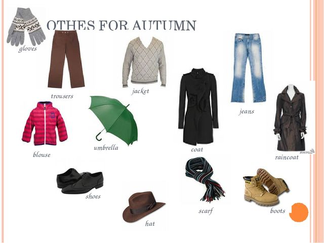 CLOTHES FOR AUTUMN trousers jacket jeans blouse umbrella coat raincoat shoes...
