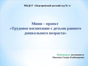 Мини – проект «Трудовое воспитание с детьми раннего дошкольного возраста» МКД