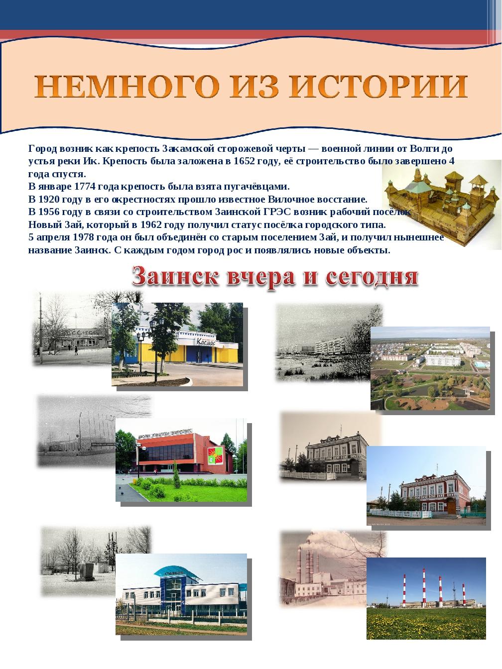 Город возник как крепость Закамской сторожевой черты — военной линии от Волг...