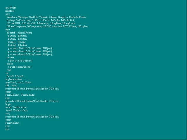 unit Unit3; interface uses Windows, Messages, SysUtils, Variants, Classes, Gr...