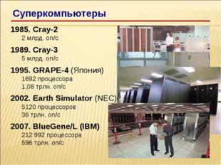 1985. Cray-2 2 млрд. оп/c 1989. Cray-3 5 млрд. оп/c 1995. GRAPE-4 (Япония) 16