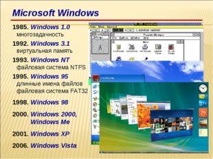 1985. Windows 1.0 многозадачность 1992. Windows 3.1 виртуальная память 1993.