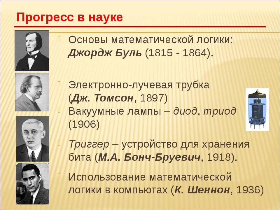 Основы математической логики: Джордж Буль (1815 - 1864). Электронно-лучевая т...