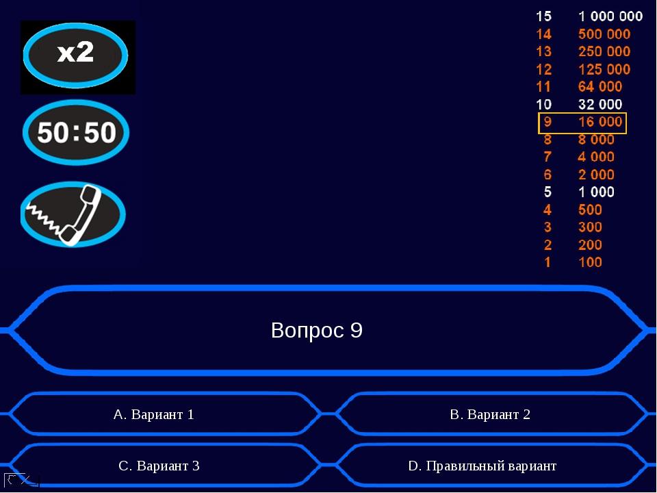 Вопрос 9 А. Вариант 1 D. Правильный вариант B. Вариант 2 C. Вариант 3