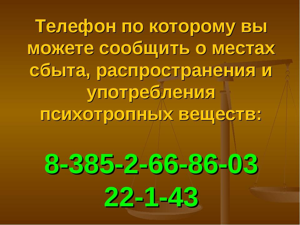 Телефон по которому вы можете сообщить о местах сбыта, распространения и упот...