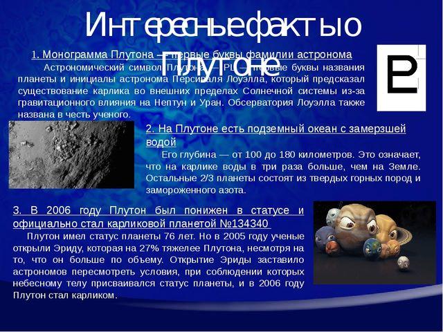 Интересные факты о Плутоне 1. Монограмма Плутона — первые буквы фамилии астро...