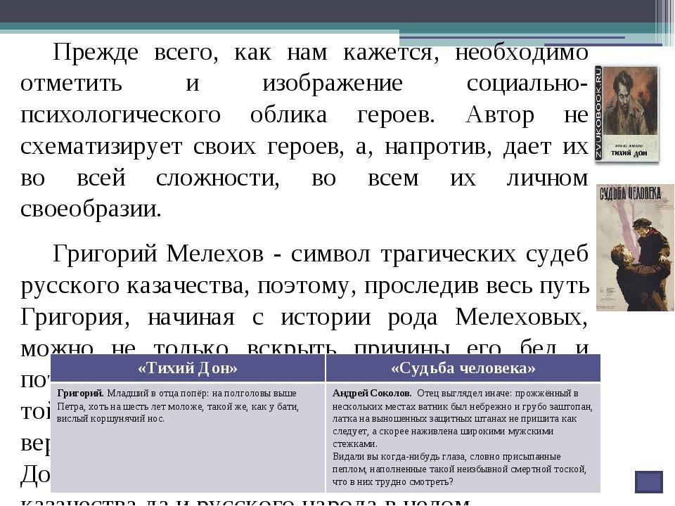 Изучая произведения М.Шолохова, мы также выделили, что характеристика героев...