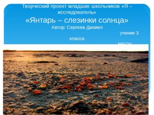 Творческий проект младших школьников «Я – исследователь» «Янтарь – слезинки с