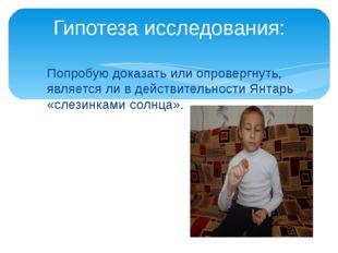 Попробую доказать или опровергнуть, является ли в действительности Янтарь «сл
