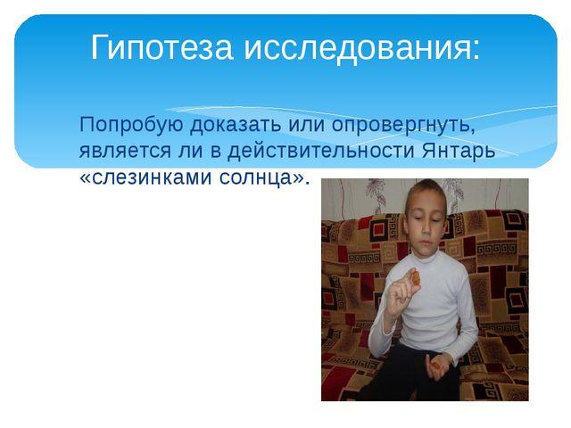 Попробую доказать или опровергнуть, является ли в действительности Янтарь «сл...