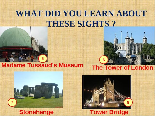 WHAT DID YOU LEARN ABOUT THESE SIGHTS ? 5 6 7 8 Madame Tussaud's Museum The T...