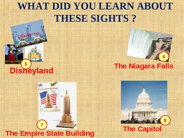 5 6 7 8 WHAT DID YOU LEARN ABOUT THESE SIGHTS ? Disneyland The Empire State B...