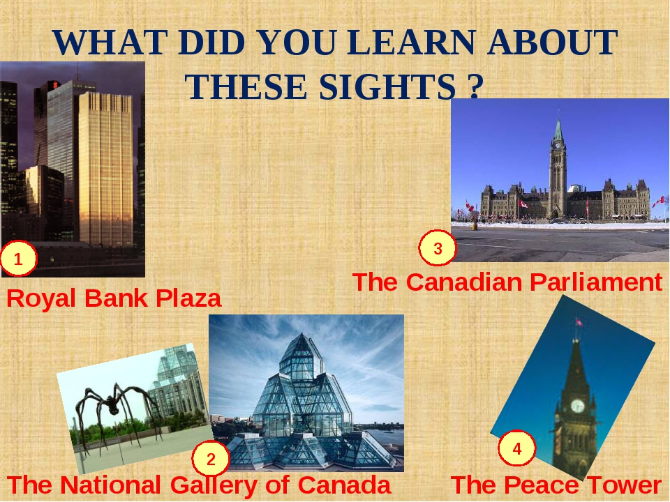 WHAT DID YOU LEARN ABOUT THESE SIGHTS ? 2 4 3 1 Royal Bank Plaza The National...