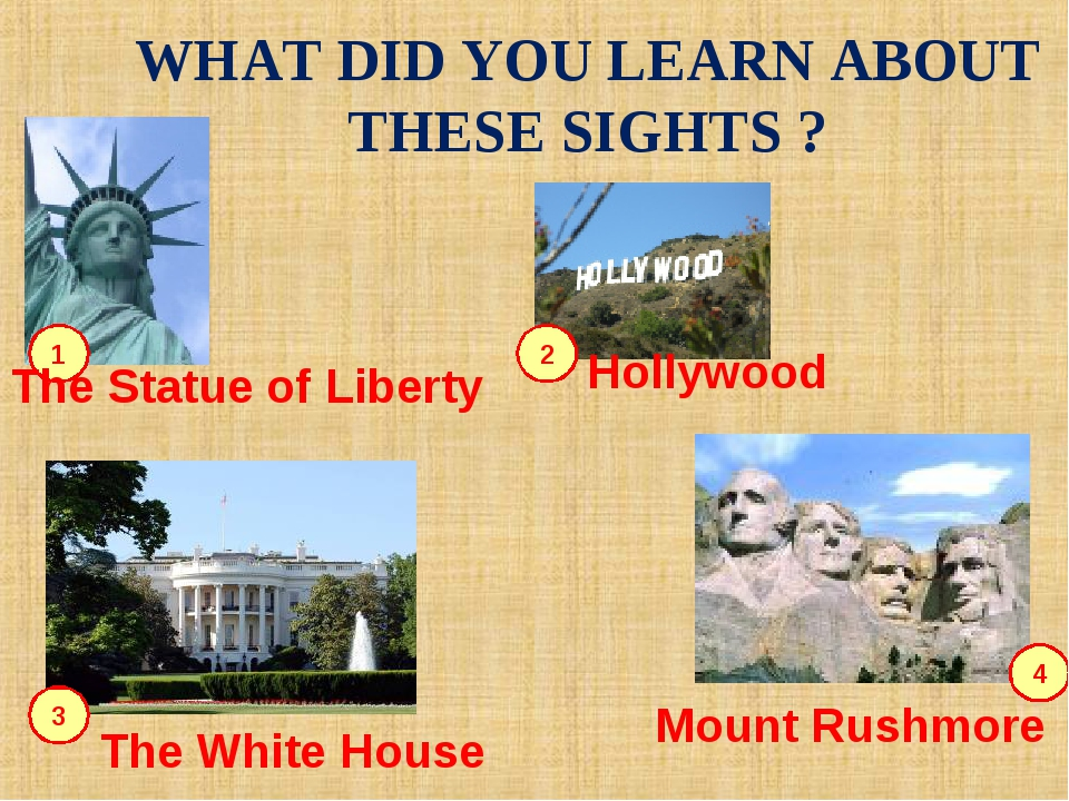 WHAT DID YOU LEARN ABOUT THESE SIGHTS ? 1 2 3 4 The Statue of Liberty Hollywo...