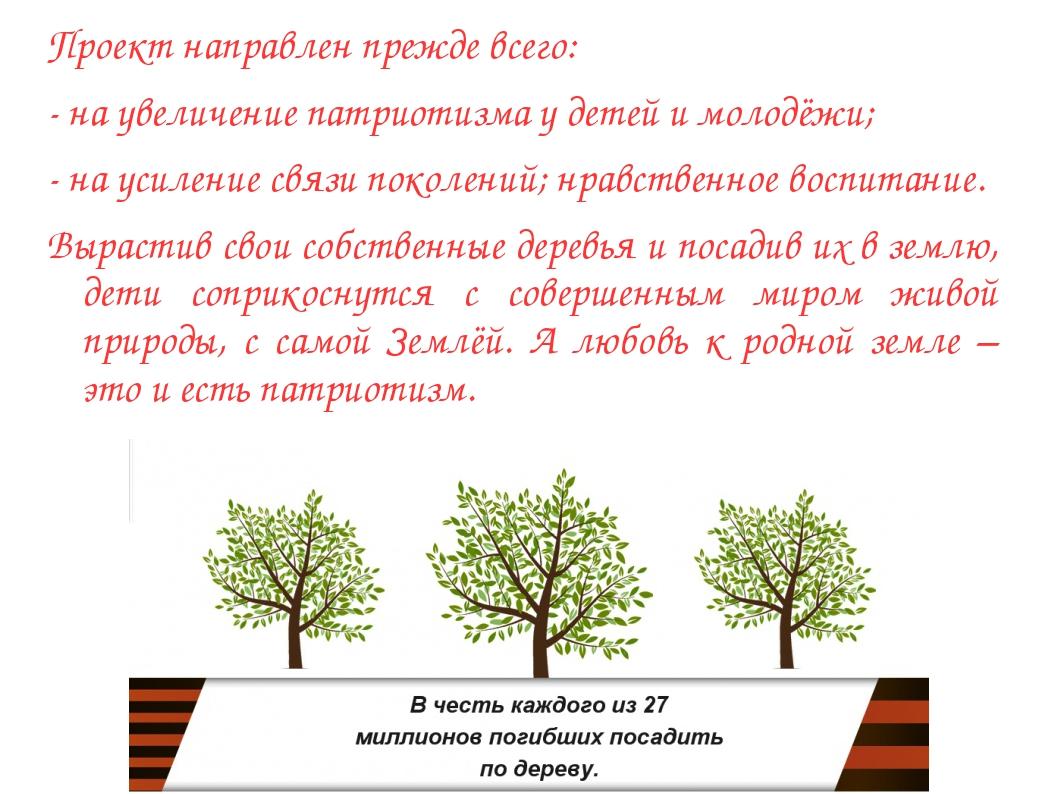 Проект направлен прежде всего: - на увеличение патриотизма у детей и молодёжи...