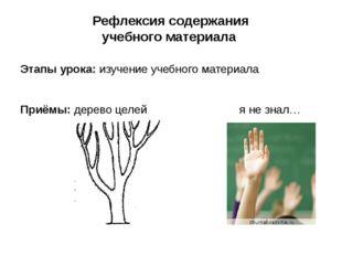 Рефлексия содержания учебного материала Этапы урока: изучение учебного матери