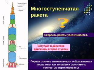 Многоступенчатая ракета Первая ступень автоматически отбрасывается после того