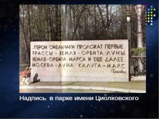 Надпись в парке имени Циолковского