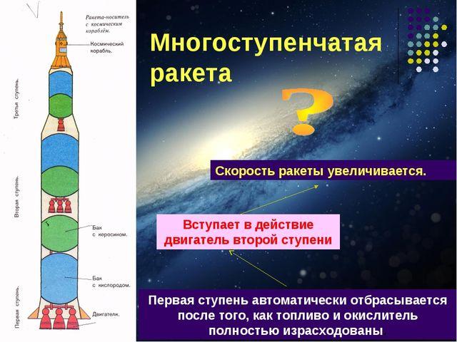 Многоступенчатая ракета Первая ступень автоматически отбрасывается после того...