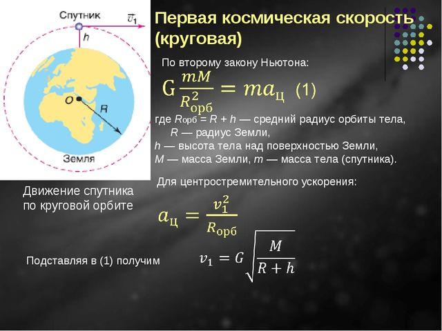 Движение спутника по круговой орбите Первая космическая скорость (круговая) г...