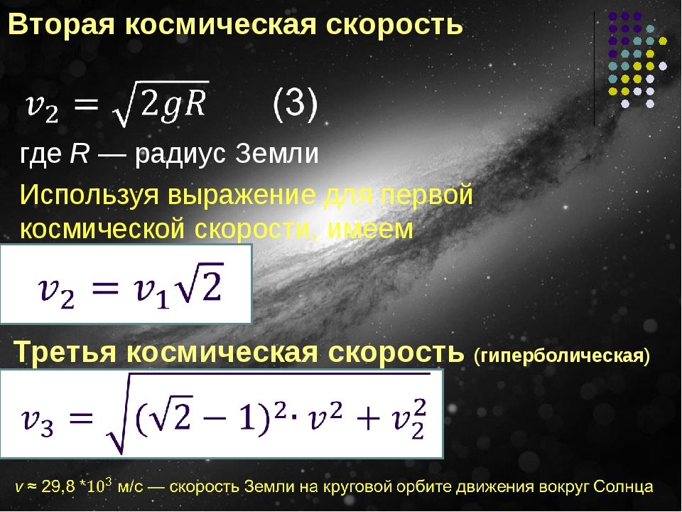 Вторая космическая скорость где R — радиус Земли Используя выражение для перв...