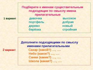Подберите к именам существительным подходящие по смыслу имена прилагательные