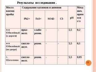 Результаты исследования . Место взятия пробы Содержание катионов и анионов р