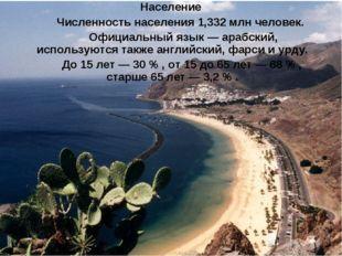 Население Численность населения 1,332 млн человек. Официальный язык—арабс