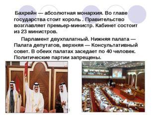 Бахрейн—абсолютная монархия. Во главе государства стоит король . Правитель