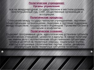Политические учреждения: Органы управления: все на международном, государств