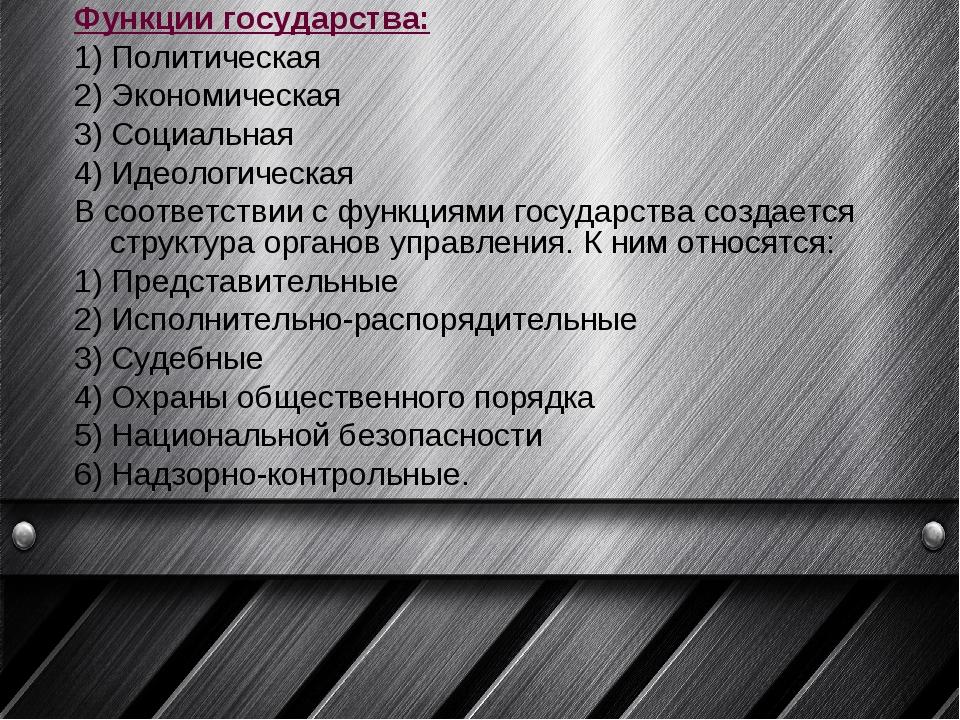 Функции государства: 1) Политическая 2) Экономическая 3) Социальная 4) Ид...