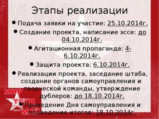 Этапы реализации Подача заявки на участие: 25.10.2014г. Создание проекта, нап