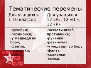 Тематические перемены Для учащихся 1-10 классовДля учащихся 12 «У», 12 «Ш»,